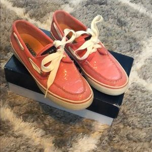 Coral sparkly SPERRY shoes